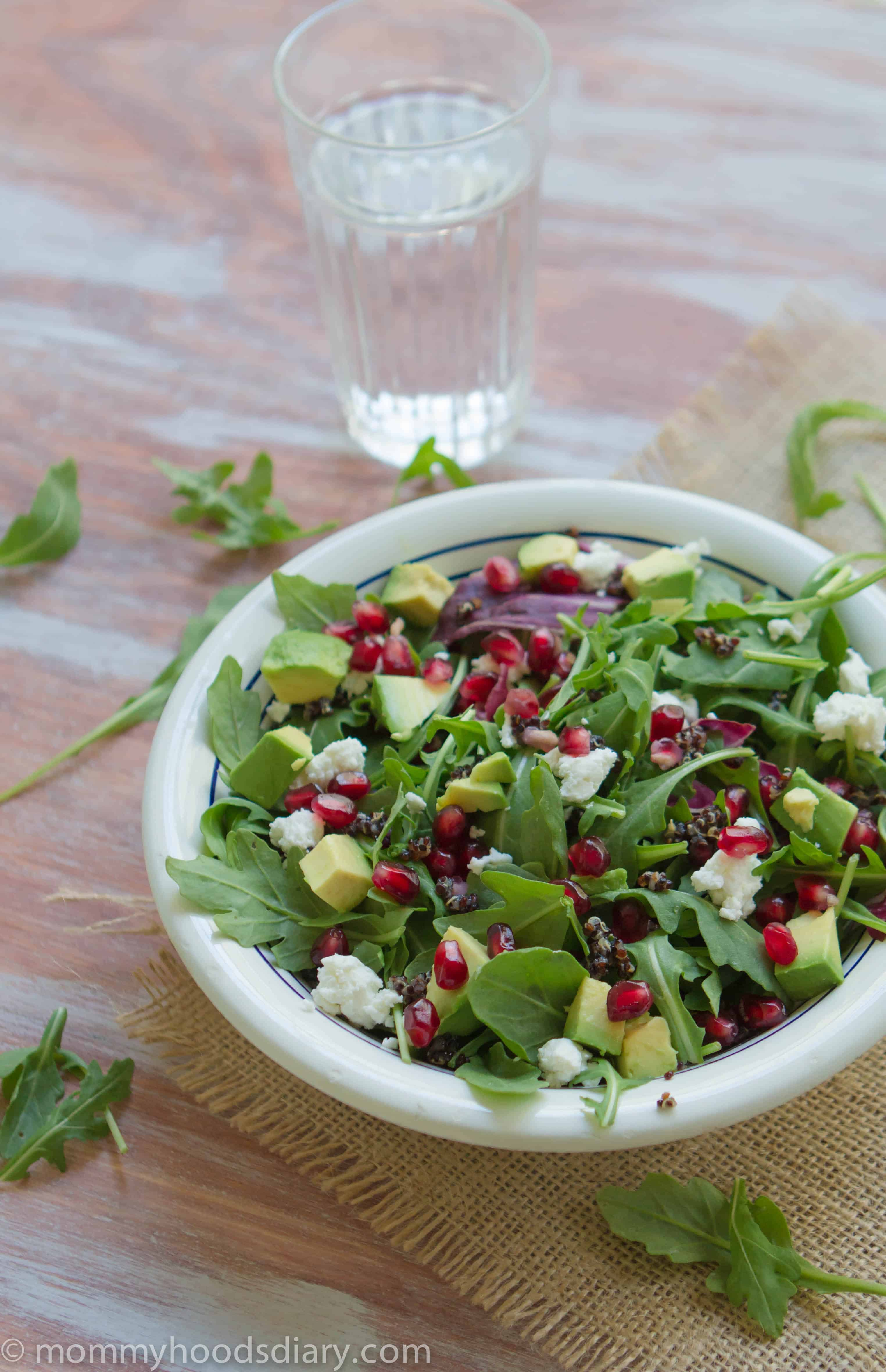 Black Quinoa, Arugula and Pomegranate