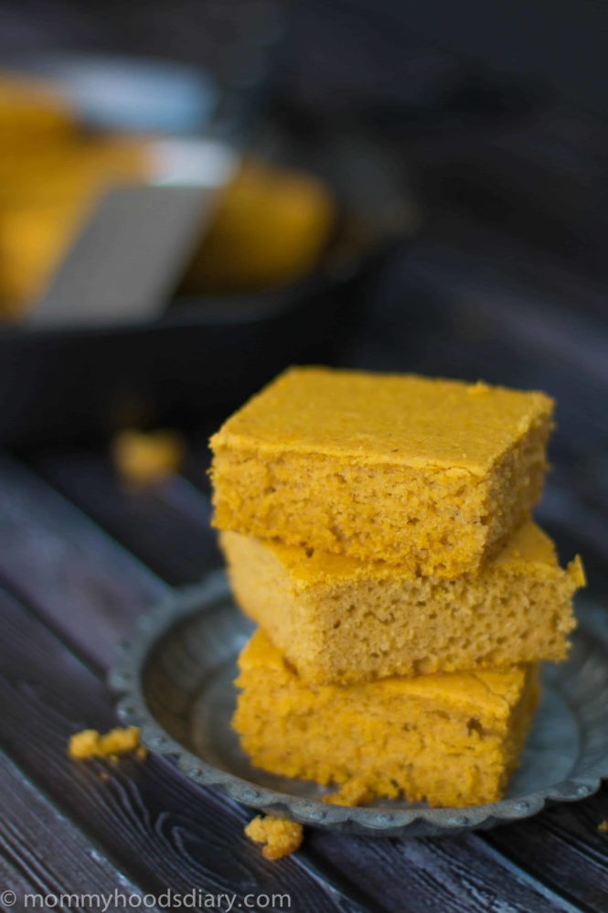 This Pumpkin Cornbread is a perfect match for fall soups and chilies! It's moist, tender, sweet. and super easy to make. Ready in 30 minutes. http://mommyshomecooking.com