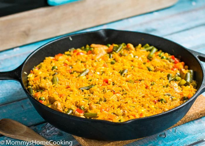 Chicken with Rice Spanish Style-3This Chicken with Rice Spanish Style is a burst of mouthwatering flavors with each bite! It comes together in a flash and requires only one pot. Perfect weeknight meal that the whole family will love. http://mommyshomecooking.com