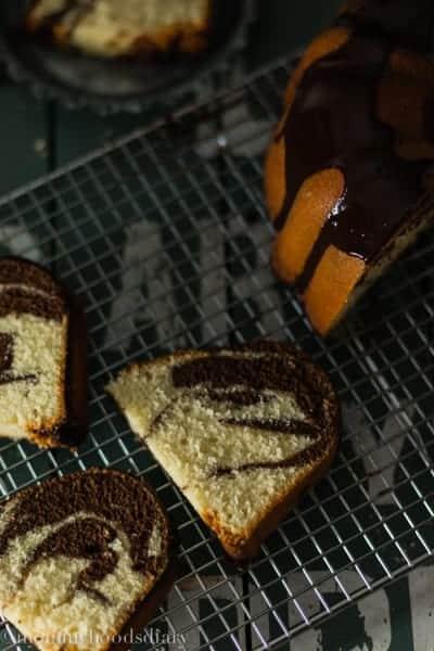 Bizcocho Marmoleado de Chocolate y Vainilla