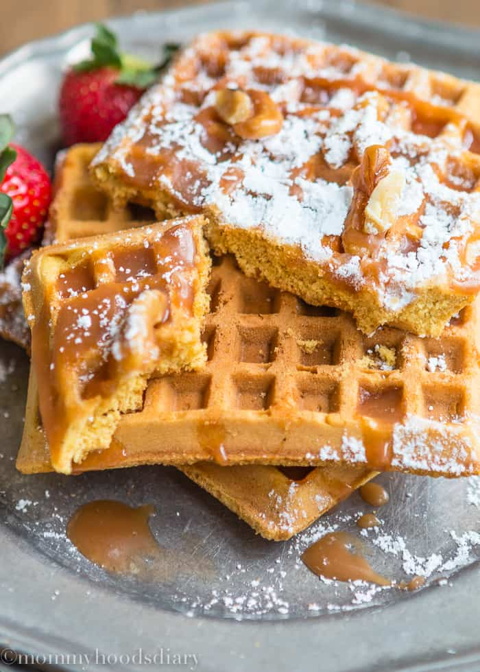 Egg Free Pumpkin Waffles with Salted Caramel Sauce - Mommy ...