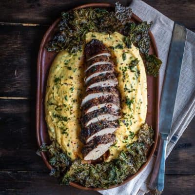 Peppercorn and Garlic Pork Tenderloin with Ricotta Herb Polenta