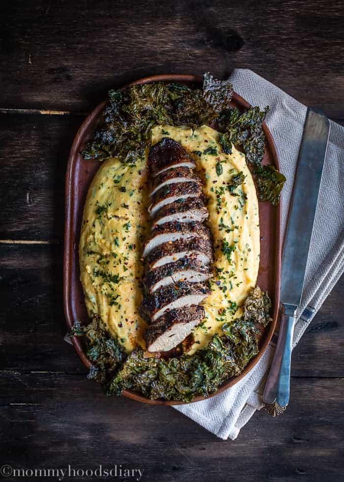 Peppercorn and Garlic Pork Tenderloin with Herb Ricotta Polenta-1
