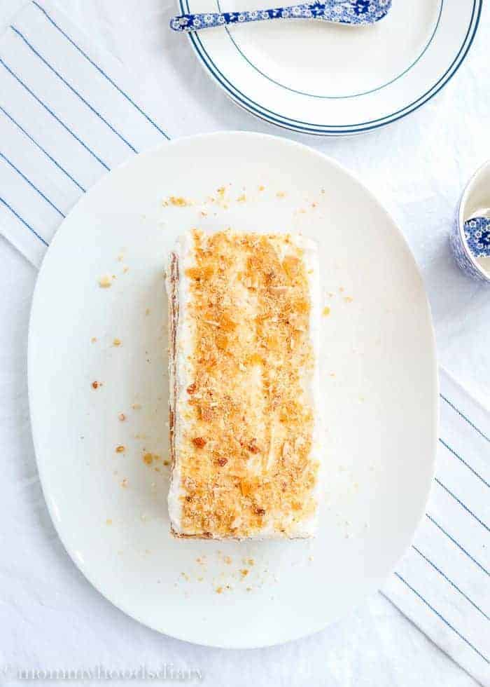Honey Sponge Cake With Lemon And Almond Praline Mommy S Home Cooking