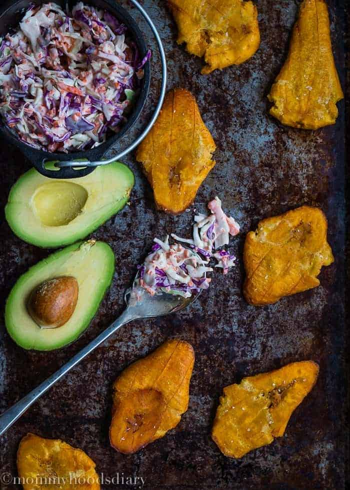 Tostones with Spicy Coleslaw and Avocados-5