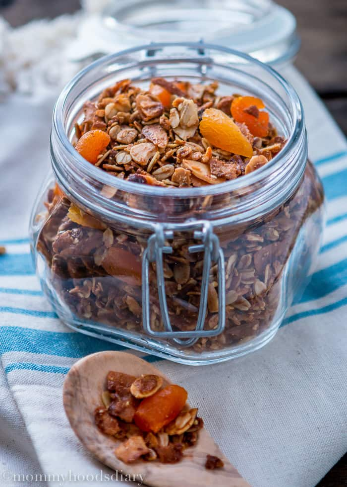 ThisCoconut Apricot Granola recipe is so easy to make and so delicious that you'll never buy granola again. http://mommyshomecooking.com