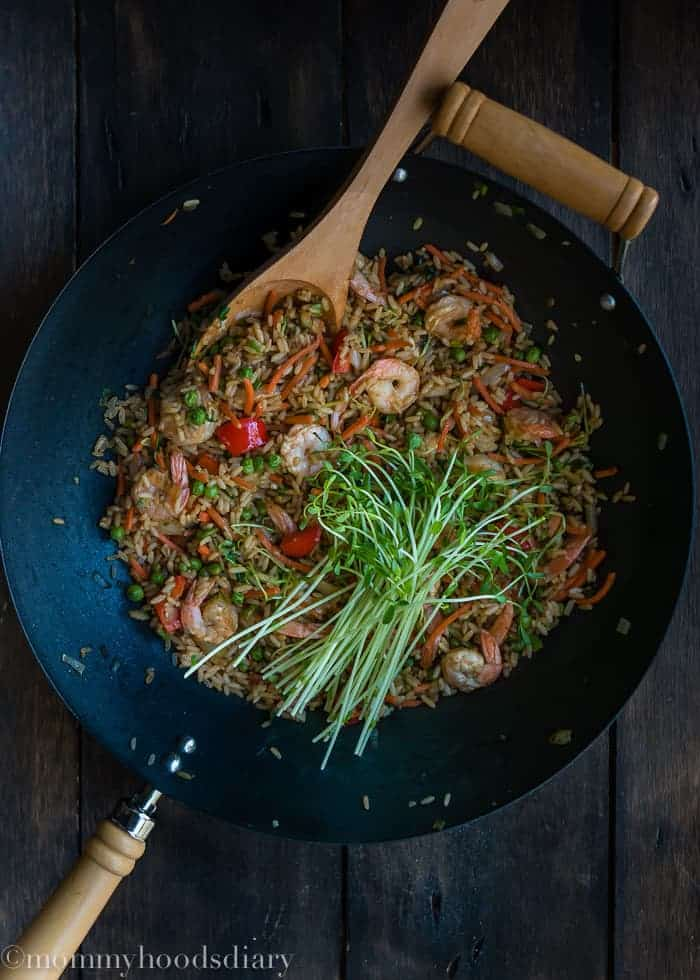 Shrimp and Bean Sprouts Fried Rice-4