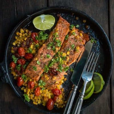 Salmon with Roasted Tomatoes and Corn