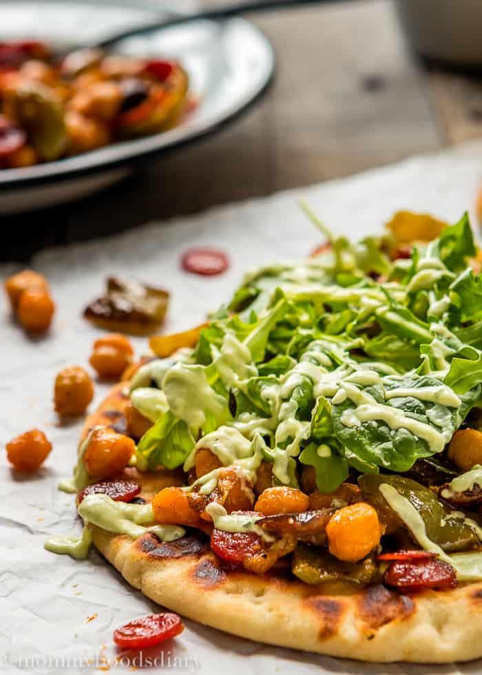 Roasted Pepperoni Veggies Naans with Avocado Tzatziki-3