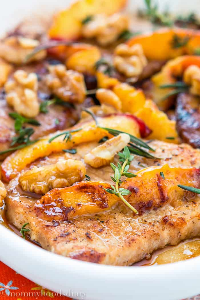Pork Chops with Peaches and Walnuts -3