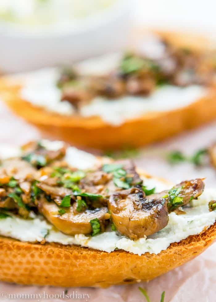 Teriyaki Garlic Mushrooms and Thyme Goat Cheese Bruschetta-5