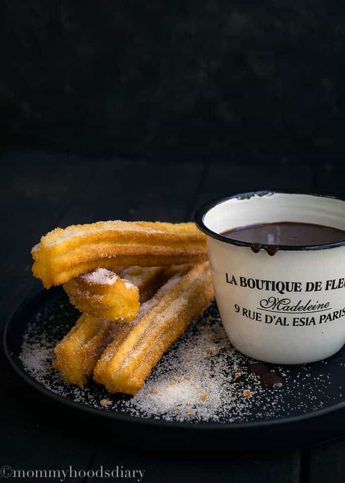 These fabulously crunchy & delicious Churros are one of the easiest desserts that can be made at home! Dunk them in a rich hot chocolate - or dulce de leche - sauce for a decadent dessert to die for. http://mommyshomecooking.com