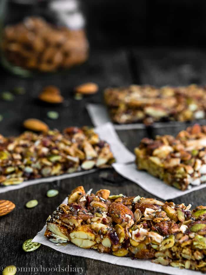 These Chocolate Peanut Butter Energy Bars will blow you away! They are nutty, fruity, and slightly sweet. The good-for-you ingredients make them the perfect grab-and-go snack.
