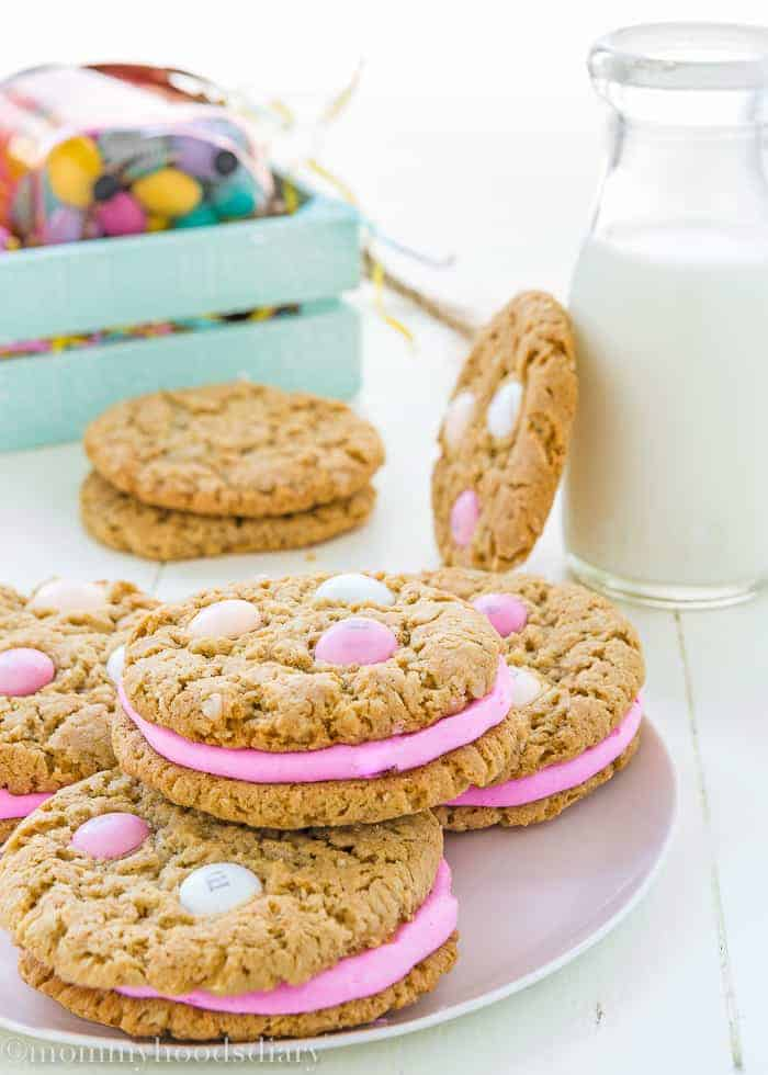 Eggless Easter Oatmeal Sandwiches Cookies-2