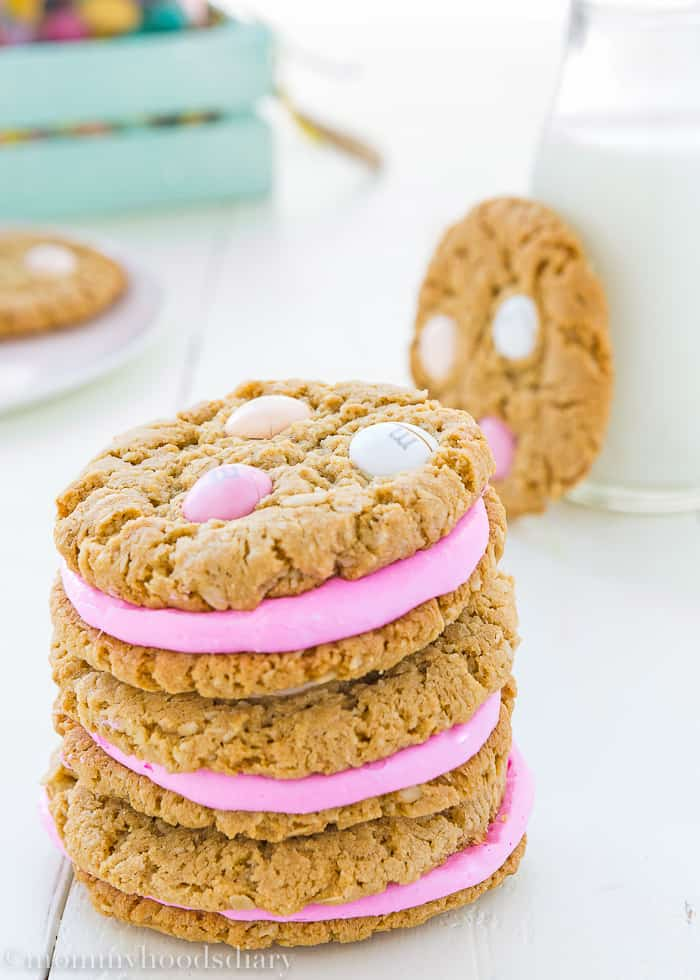 Eggless Easter Oatmeal Sandwiches Cookies-4