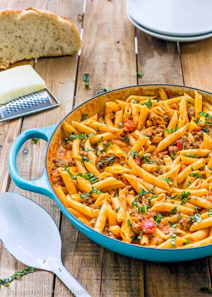 Penne with Sausage and Spicy Cream Tomato Sauce 1