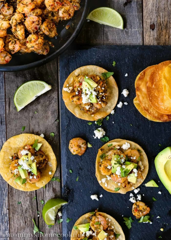 Chimichurri Shrimp and Avocado Mini Tostadas-11