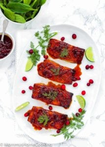 Cranberry Honey Glazed Salmon + Giveaway