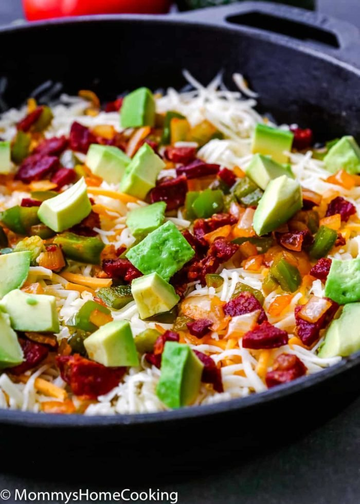 Easy Queso Fundido with Chorizo and Avocado-5
