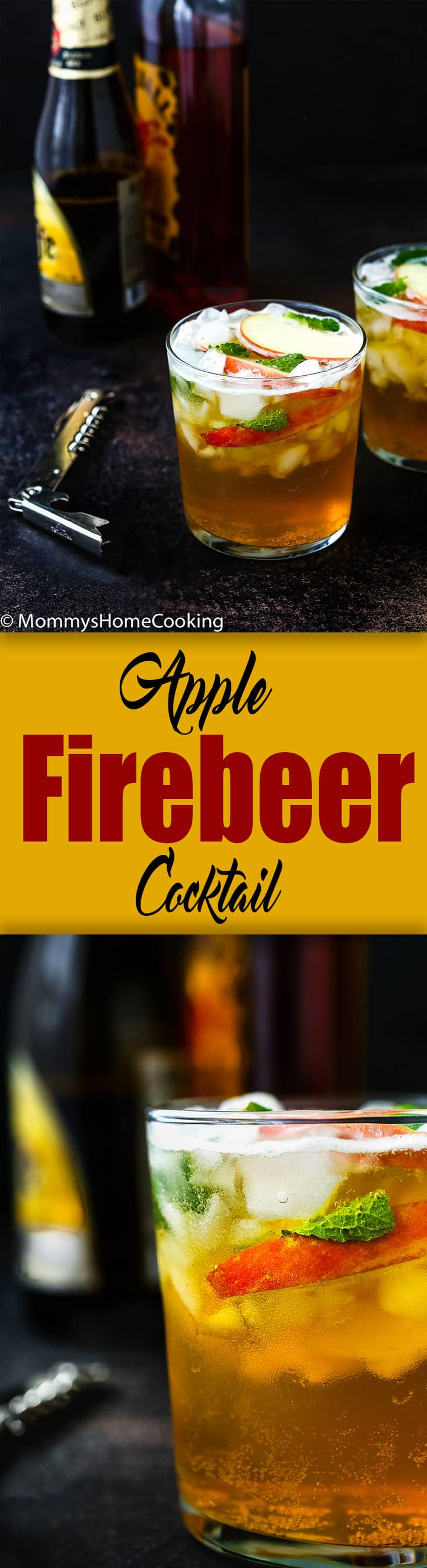 This effervescent Apple Firebeer Cocktail has a variety of flavors that will get party started. It's a deliciously easy cocktail that can be stirred up in seconds, with only 3 ingredients. http://mommyshomecooking.com