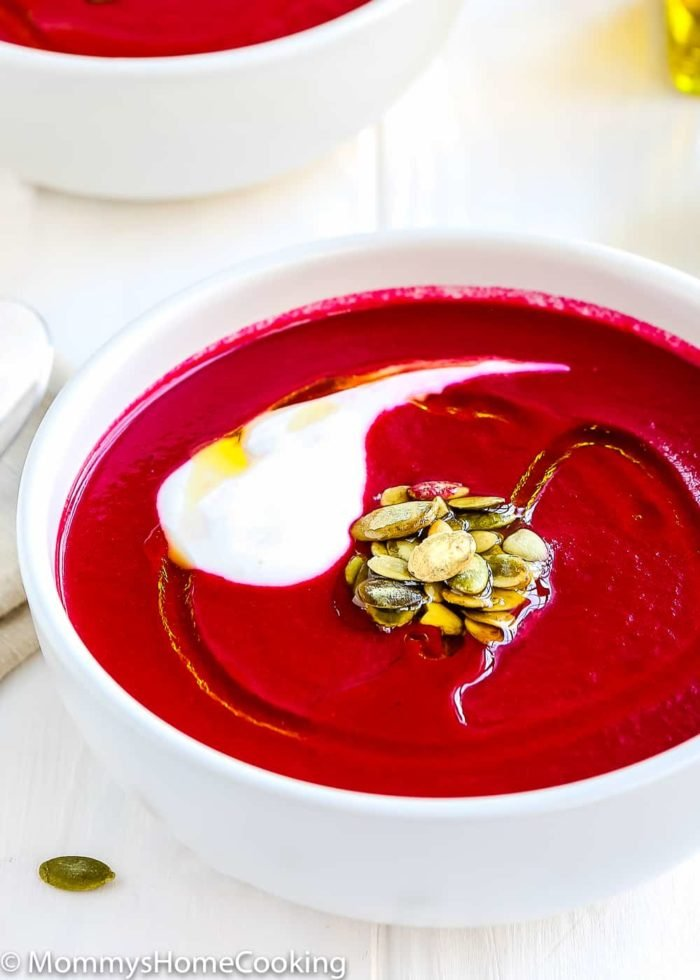 This 20-minute Easy Instant Pot Beet and Leek Soup recipe is chock-full of essential everyday nutrients and crazy delicious. It's incredibly simple to prepare; perfect comfort on a cold winter day! http://mommyshomecooking.com