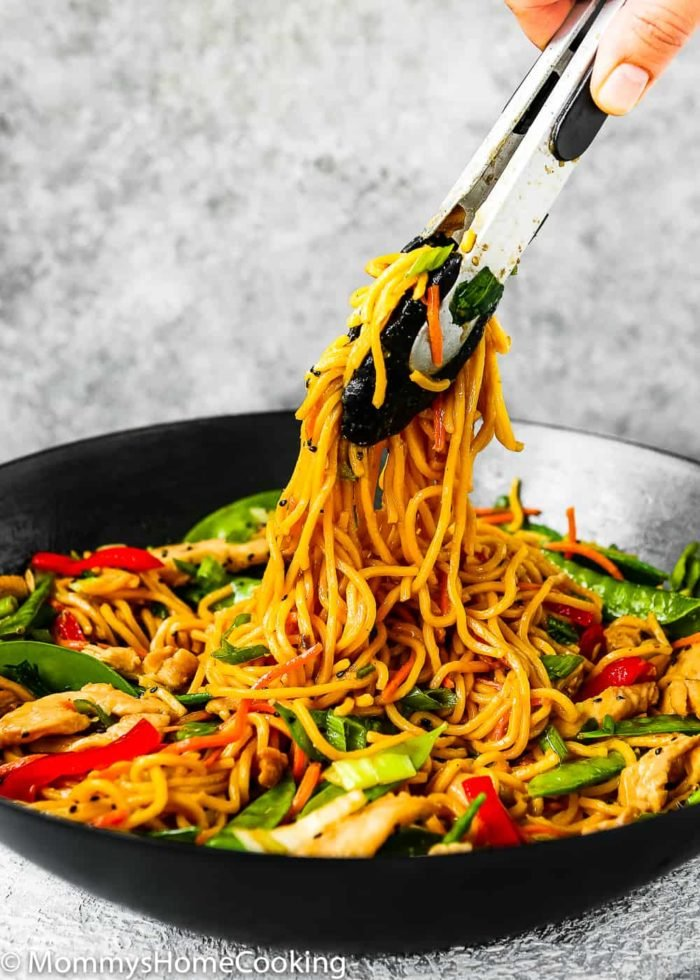 This 20-minute Easy Chicken Lo Mein recipe is my version of a Chinese menu favorite. It's loaded with veggies and noodles, tossed in a salty sauce that'll make you forget take-out. http://mommyshomecooking.com