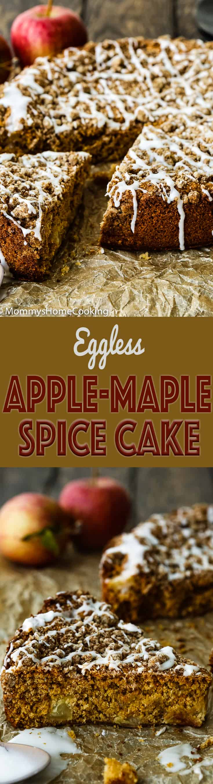 Get an A+ on kitchen duty with this Eggless Apple Maple Spice Cake!! It's really moist, tender, and tasty. Perfect for dessert or breakfast. http://mommyshomecooking.com