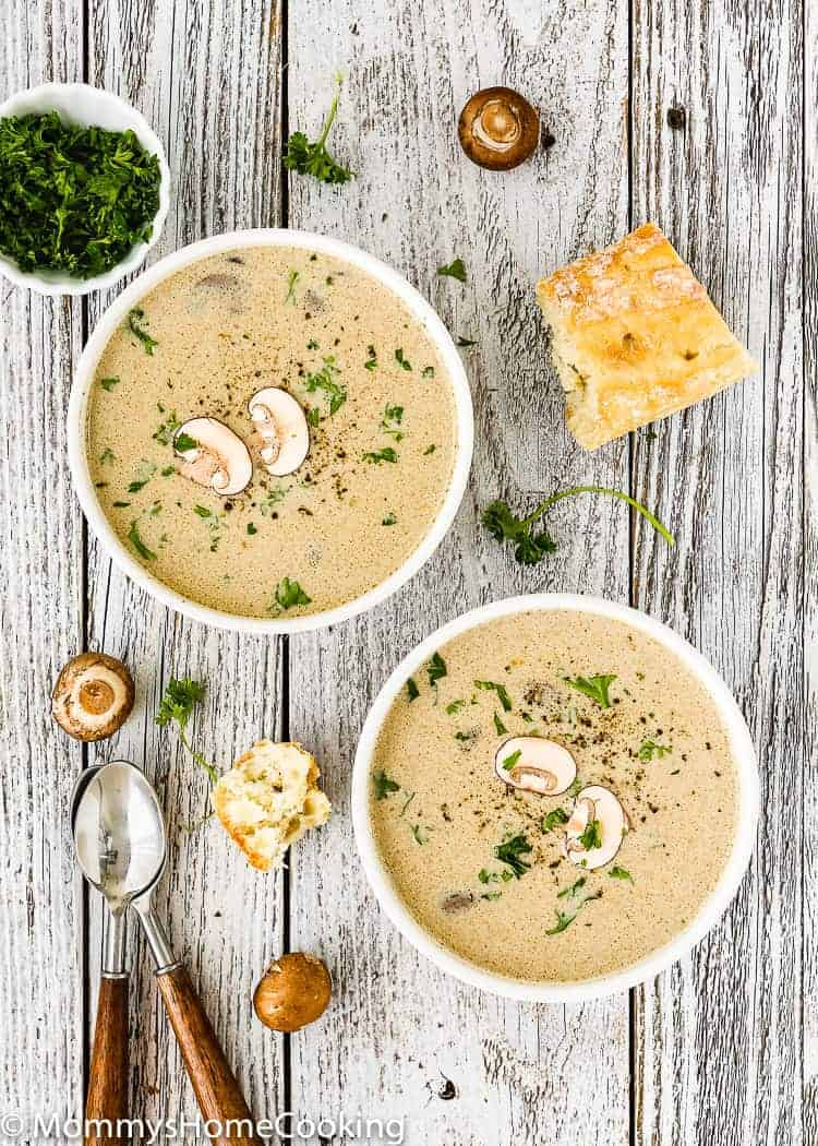 This Mushroom Soup with Roasted Garlic and Marrow Bones is worthy the front page of your kitchen adventure news. It's rich, hearty, creamy and OH-SO delicious! http://mommyshomecooking.com
