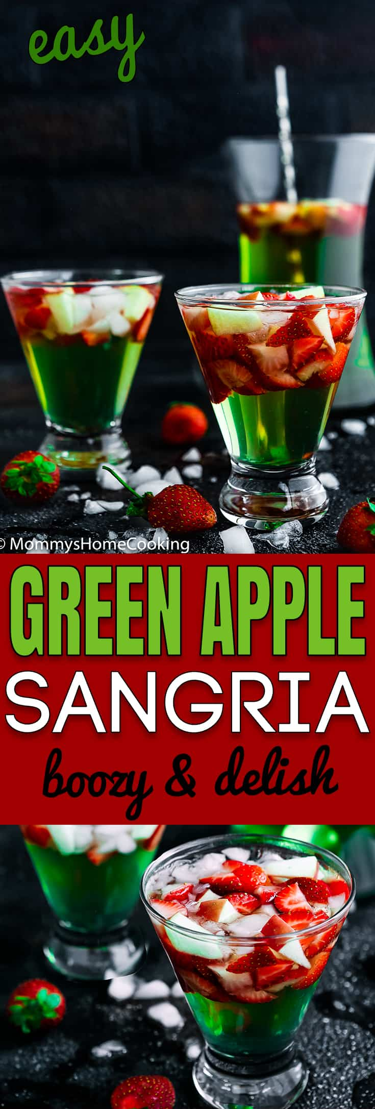 This Green Apple Sangria is boozy, light, crisp and chock-full of yummy fruit. It's the perfect make-ahead cocktail for parties and gatherings. http://mommyshomecooking.com