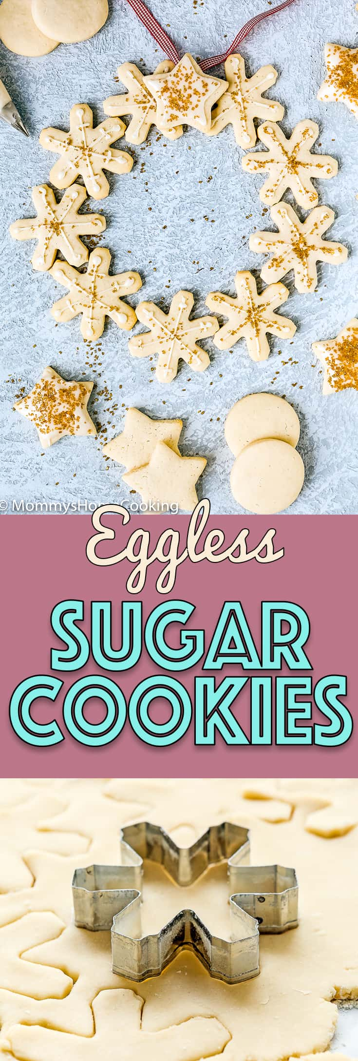 These Eggless Sugar Cookies are tender, buttery, keep their shape when baked, and yes, taste amazing, too. Serve them with or without icing and watch them disappear right before your eyes! http://mommyshomecooking.com