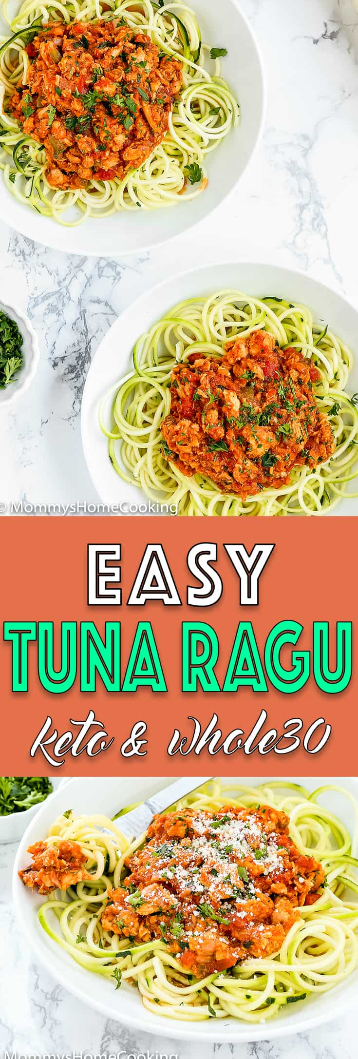 This Easy Tuna Ragu recipe is delicious, light and healthy yet full of robust flavors. It's ridiculously easy to make and everything is cooked in one pan in less than 30 minutes. [Keto Friendly] [Whole 30 Friendly] http://mommyshomecooking.com