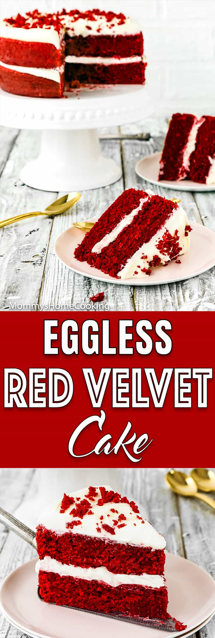This Eggless Red Velvet Cake is moist, rich, and amazingly tasty! Two lovely layers of tender vibrant sponge red cake with fluffy cream cheese frosting. I promise you will not miss the eggs.  This easy dessert is the perfect showstopper for any occasion. http://mommyshomecooking.com