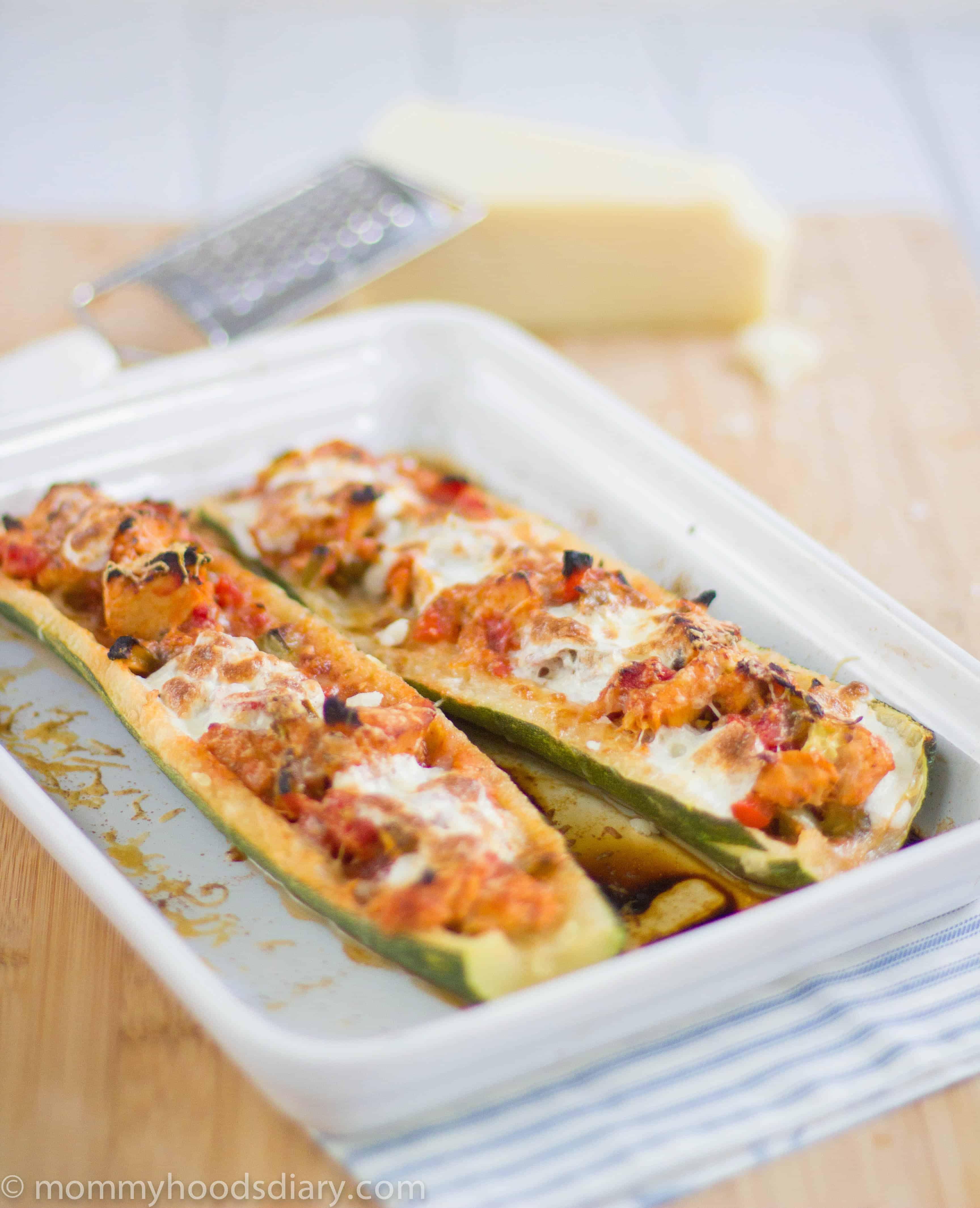 Basil Tuna Filled Zucchini