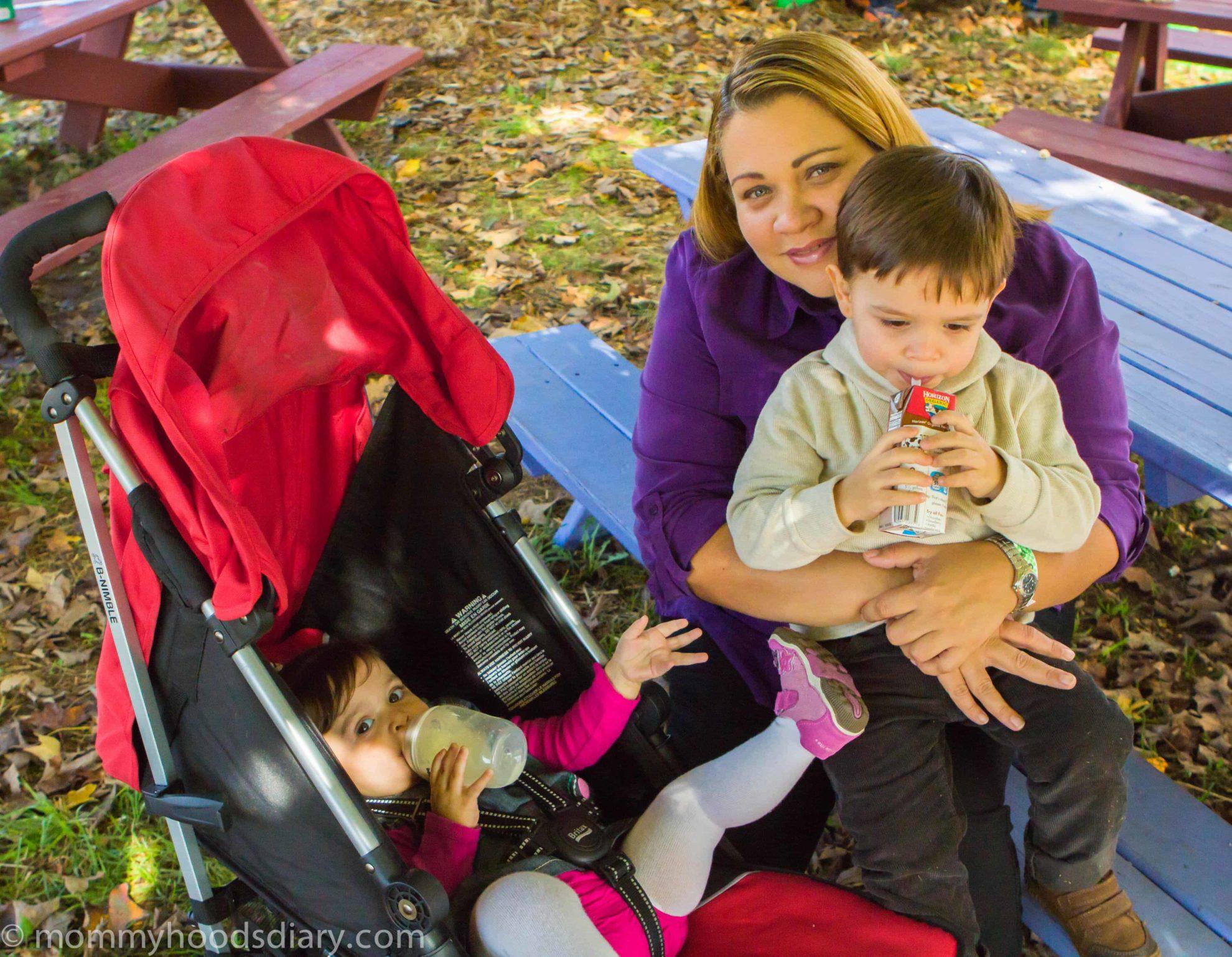Pumpkin Picking mom with kids