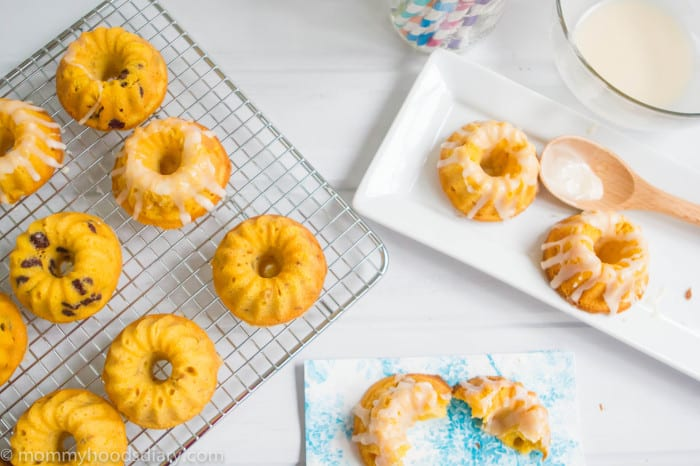 Pumpkin and Apple Mini Bundts Cakes on a rack and served on a plate