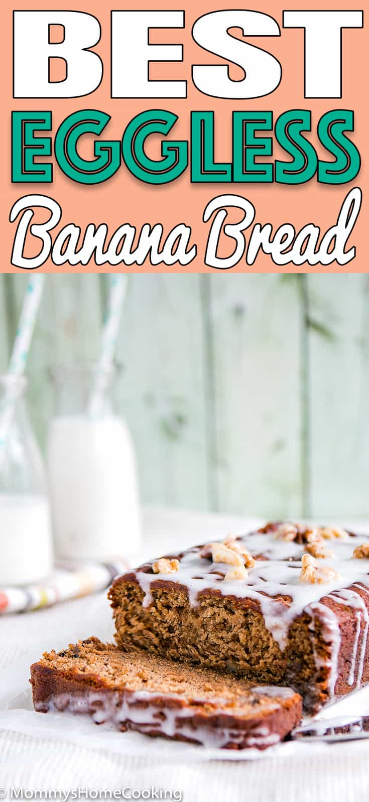 BEST Eggless Banana Bread - Make the BEST Eggless Banana Bread with this easy recipe! It sweet, moist, and full of flavor. #eggless #recipes #bananabread #eggless recipes