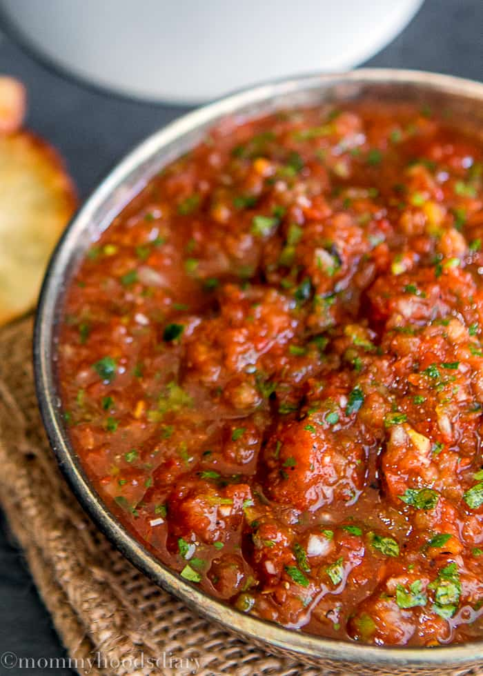 This recipe is The Best Homemade Restaurant Style Salsa ever!! Better than jarred salsa and you can whip it up in a flash.  https://mommyshomecooking.com