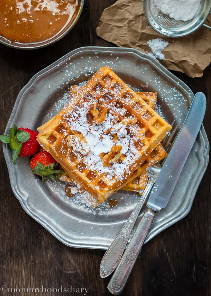These Egg Free Pumpkin Waffles with Salted Caramel Sauce are going to be the perfect addition to your fall breakfast (or brunch) table… easy to make and ridiculously delicious! https://mommyshomecooking.com