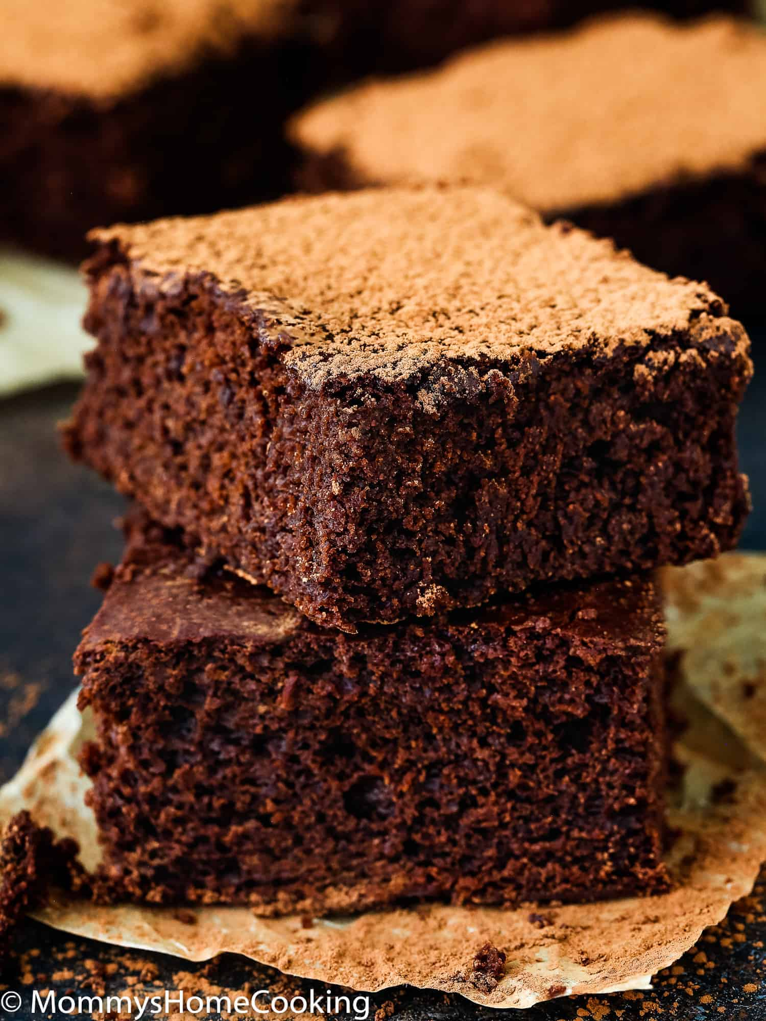 These Eggless Fudgy Brownies are the most amazingly delicious, fudgy brownies ever! They're made completely from scratch with ingredients you probably have at home.  Easy to make and easier to eat. https://mommyshomecooking.com