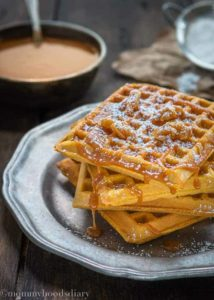 Egg Free Pumpkin Waffles with Salted Caramel Sauce | mommyshomecooking.com