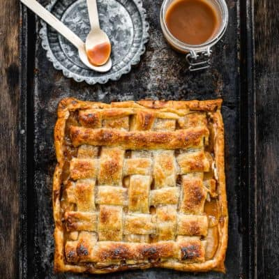 Eggless Salted Caramel Apple Cheese Danish