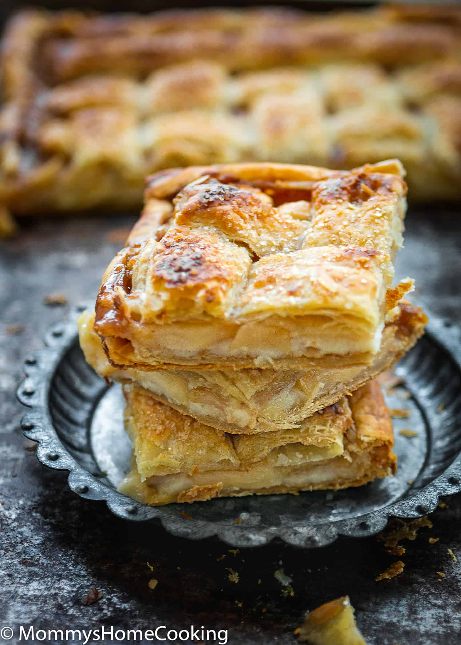 This Eggless Salted Caramel Apple Cheese Danish is the perfect way to enjoy one of the best gifts of the fall season, Apples!!! Made with store-bought puff pastry, this easy dessert is super delish and makes a nice change from the usual apple pie.  https://mommyshomecooking.com