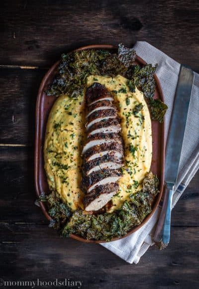 Peppercorn and Garlic Pork Tenderloin with Ricotta Herb Polenta | Mommyhood's Diary