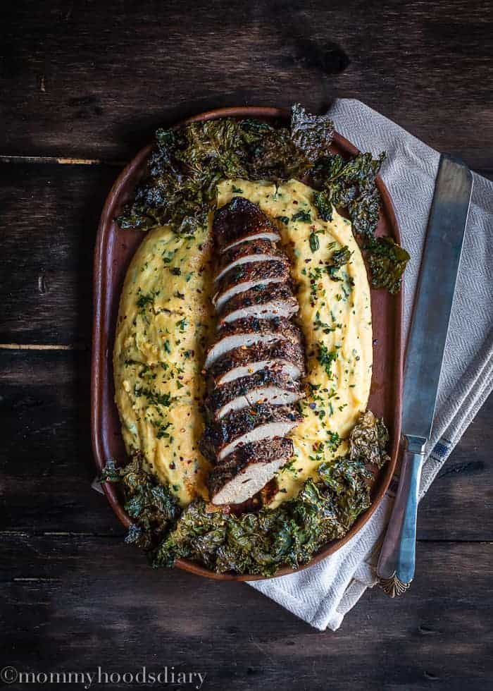 Peppercorn and Garlic Pork Tenderloin with Herb Ricotta Polenta-1