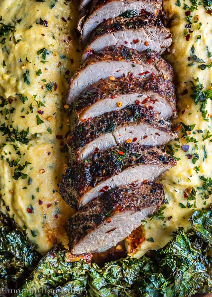 Peppercorn and Garlic Pork Tenderloin with Herb Ricotta Polenta-2