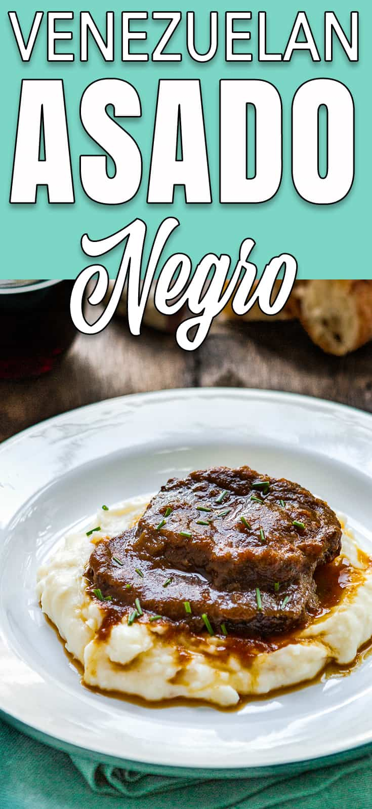 Venezuelan Asado Negro in a white plate with mashed potatoes with descriptive text
