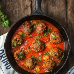 Eggless turkey meat balls in a cast iron skillet