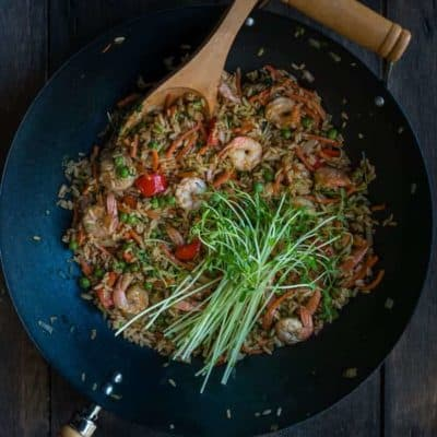 Shrimp and Sweet Pea Shoots  Fried Rice