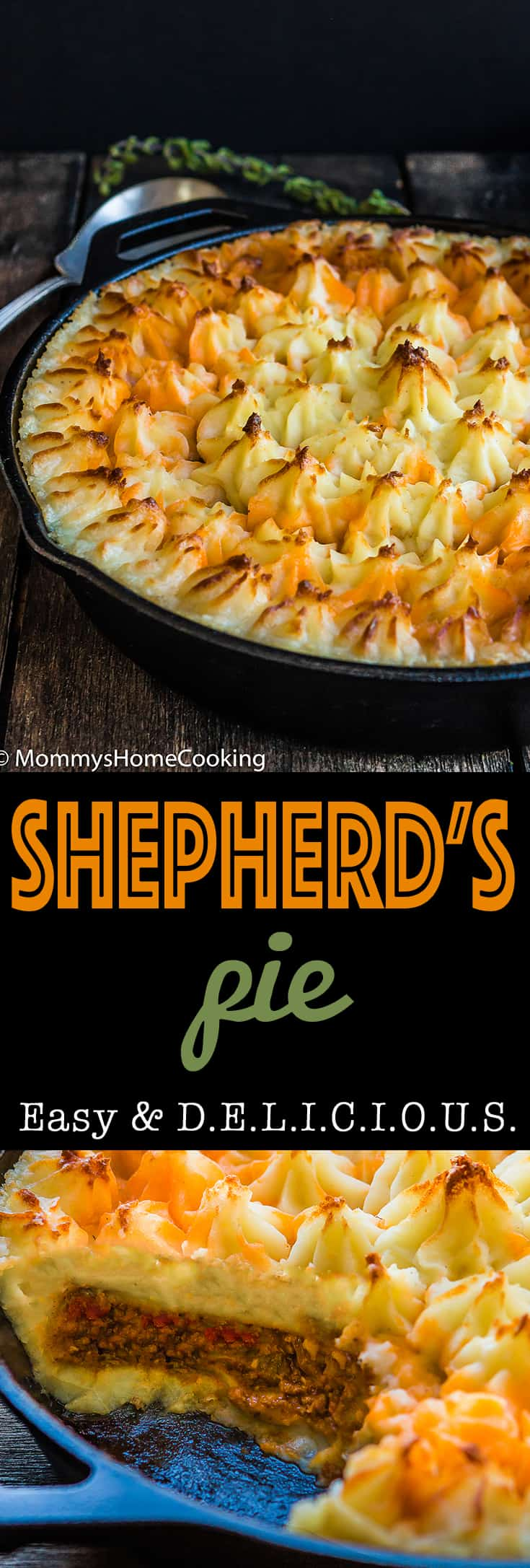 Shepherd's Pieis a complete, comforting, and scrumptious meal full of flavor! Made from scratch with Parmesan mashed potatoes and baked to perfection. https://mommyshomecooking.com