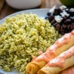 Green Rice and Taquitos with Piquillo Pepper Crema | Mommyhood's Diary